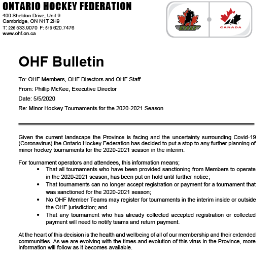 OHF Bulletin - Minor Hockey Tournaments for the 2020-2021 Season