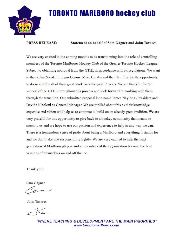 Toronto Marlboro Hocke Club Press Release