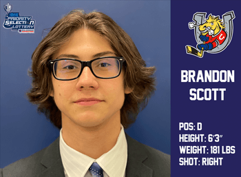 Brandon Scott 9th Round 179th Overall by Barrie Colts