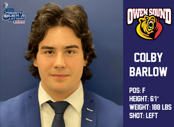 Colby Barlow 1st Round 8th Overall by Owen Sound Attack