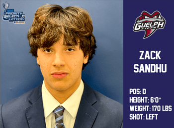 Zack Sandhu 7th Round 122nd Overall by Guelph Storm